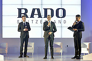 (C) Matthias Breschan President of Rado brand and (L) Marek Lis and (R) journalist Bozydar Iwanow during press conference at the Uffcio Primo Club in Warsaw on April 30, 2014.<br /> <br /> Poland, Warsaw, April 30, 2014<br /> <br /> Picture also available in RAW (NEF) or TIFF format on special request.<br /> <br /> For editorial use only. Any commercial or promotional use requires permission.<br /> <br /> Mandatory credit:<br /> Photo by &copy; Adam Nurkiewicz / Mediasport