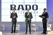 (C) Matthias Breschan President of Rado brand and (L) Marek Lis and (R) journalist Bozydar Iwanow during press conference at the Uffcio Primo Club in Warsaw on April 30, 2014.<br /> <br /> Poland, Warsaw, April 30, 2014<br /> <br /> Picture also available in RAW (NEF) or TIFF format on special request.<br /> <br /> For editorial use only. Any commercial or promotional use requires permission.<br /> <br /> Mandatory credit:<br /> Photo by © Adam Nurkiewicz / Mediasport