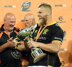 Wellington's Brad Shields with the Championship Cup after his teams win over Bay of Plenty in the Mitre 10 Rugby Final match at Westpac Stadium, Wellington, New Zealand, Friday, October 27, 2017. Credit:SNPA / Ross Setford  **NO ARCHIVING**