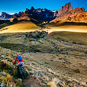 Heather Goodrich rides her Juliana mountain bike on private single track within a Guacho Ranch in the Baguales Mountain Range, Patagonia, Chile.