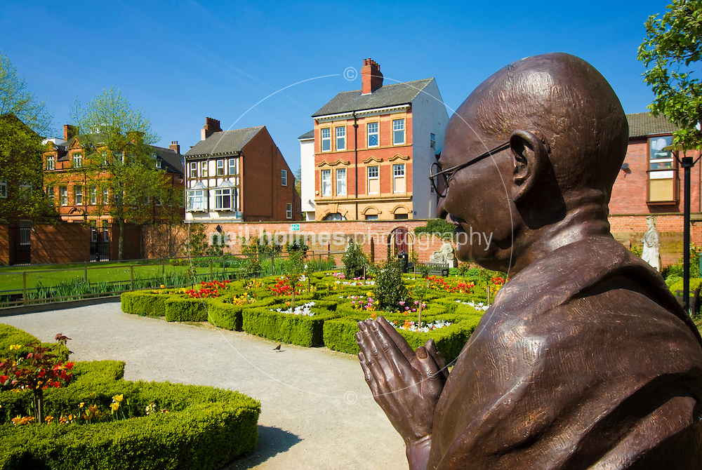Bust of Mahatma Gandhi in the the Nelson Mandela Peace Garden in the grounds of the street life museum, High Street