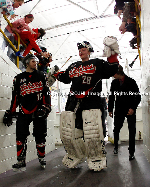FORT FRANCES, ON - May 1, 2015 : Central Canadian Junior &quot;A&quot; Championship, game action between the Fort Frances Lakers and the Toronto Patriots, semi-final game of the Dudley Hewitt Cup. Pierce Dushenko #28 celebrates the win.<br /> (Photo by Brian Watts / OJHL Images)
