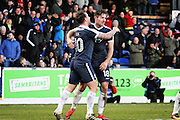 Southend United defender Ryan Leonard (18) celebrates his goal with Southend United striker Simon Cox (10) during the EFL Sky Bet League 1 match between Southend United and Scunthorpe United at Roots Hall, Southend, England on 4 February 2017. Photo by Nigel Cole.