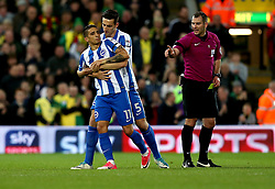 Anthony Knockaert of Brighton & Hove Albion is pulled away by Lewis Dunk of Brighton & Hove Albion - Mandatory by-line: Robbie Stephenson/JMP - 21/04/2017 - FOOTBALL - Carrow Road - Norwich, England - Norwich City v Brighton and Hove Albion - Sky Bet Championship