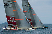 NZL81 (closest to camera) and NZL68 during sail testing. Emirates Team New Zealand 17/3/2005