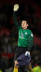 01.12.2011, Old Trafford, Manchester, ENG, PL, Viertelfinale, Manchester United FC vs Crystal Palace FC, im Bild Crystal Palace's Welsh goalkeeper Lewis Price celebrates his side's 2-1 extra-time victory over Manchester United during the football match of Englisch Football League Cup, Quarter-Final, between Manchester United FC and Crystal Palace FC at Old Trafford, Manchester, ENG on 2011-12-01. EXPA Pictures © 2011, PhotoCredit: EXPA/ Sportida/ David Rawcliff..***** ATTENTION - OUT OF ENG, GBR, UK *****