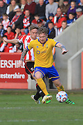 Asa Hall and Alan Power  during the Vanarama National League match between Cheltenham Town and Lincoln City at Whaddon Road, Cheltenham, England on 30 April 2016. Photo by Antony Thompson.