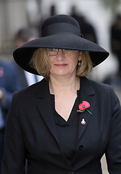 © Licensed to London News Pictures. 12/11/2017. London, UK. Home Secretary Amber Rudd walks through Downing Street to attend the Remembrance Sunday Ceremony at the Cenotaph in Whitehall. Photo credit: Peter Macdiarmid/LNP