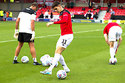 Salford City midfielder Tom Walker before the EFL Sky Bet League 2 match between Salford City and Port Vale at Moor Lane, Salford, United Kingdom on 17 August 2019.