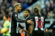 Joelinton (#9) of Newcastle United celebrates Newcastle United's first goal (1-1) with goalscorer DeAndre Yedlin (#22) of Newcastle United during the Premier League match between Newcastle United and Bournemouth at St. James's Park, Newcastle, England on 9 November 2019.