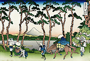 Travellers at Hodogaya on the Tokaido Road, Mount Fuji in background.  From 'Thirty-six Views of Mount Fuji', c1831. Katsushika Hokusai (1760-1849) Japanese Ukiyo-e artist.  Transport Horse Sedan Chair Pedestrian Tree Pine Landscape