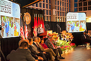 Nassau County Executive Edward Mangano gives State of the County Address, on Wednesday night, March 14, 2012, at Cradle of Aviation museum, Garden City, New York, USA. Mangano, who praised the County's handling of Hurrican Irene in 2011, is show at podium flanked by Legislators, Republicans to left and Democrats to right.