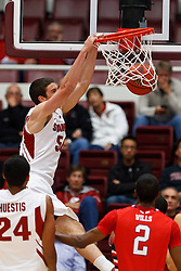 Nov 14, 2011; Stanford CA, USA;  Stanford Cardinal forward/center Jack Trotter (50) dunks against the Fresno State Bulldogs during the first half of a preseason NIT game at Maples Pavilion. Mandatory Credit: Jason O. Watson-US PRESSWIRE