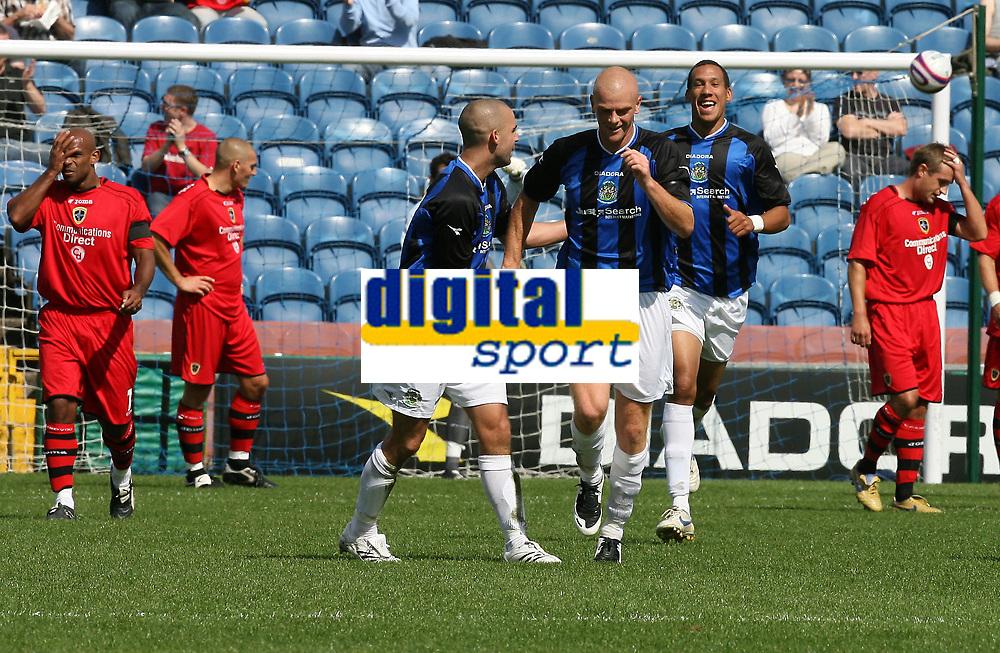 Photo: Paul Greenwood.<br />Stockport County v Cardiff City. Coca Cola Championship. Pre Season Friendly. 28/07/2007.<br />Stockport's Anthony Elding (L) congratulates team mate Jason Taylor
