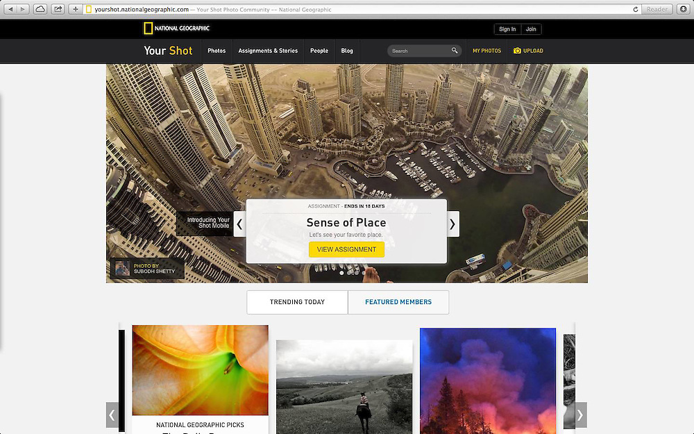 National Geographic Your Shot website cover - September 2014<br />
