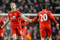Liverpool's Jordan Henderson and Liverpool's Adam Lallana celebrate - Photo mandatory by-line: Matt McNulty/JMP - Mobile: 07966 386802 - 10/02/2015 - SPORT - Football - Liverpool - Anfield - Liverpool v Tottenham Hotspur - Barclays Premier League