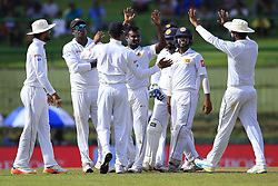 August 12, 2017 - Colombo, Sri Lanka - Sri Lankan cricketer Malinda Pushpakumara celebrates the dismissal of Indian batsman Ajinkya Rahane(unseen) during the 1st Day's play in the 3rd Test match between Sri Lanka and India at the Pallekele International cricket stadium, Kandy, Sri Lanka on Saturday 12 August 2017. (Credit Image: © Tharaka Basnayaka/NurPhoto via ZUMA Press)