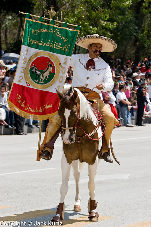 16 SEPTEMBER 2005 - MEXICO CITY:  A Charro, or Mexican cowboy, marches in the Independence Day parade in Mexico City, Sept. 16. Mexico celebrated its 195th Independence Day in 2005 with a huge military parade through the center of Mexico City. The area is famous for wide beaches and fresh seafood, especially shellfish.    PHOTO BY JACK KURTZ