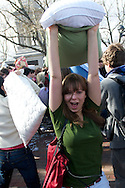 Apr, 2, 2011, Cambridge, Boston, Massachusetts, Massachusetts - A participant in World Pillow Fight Day pauses for a moment to pose for picture. Photo by ©Lathan Goumas.