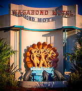 The spectacular 1953-vintage, Miami Modern (MiMo) style Vagabond Motel reopened on Miami's Biscayne Bouevard in August  2014 after a $5 million restoration. The original sculpture is by Juan Stacholy while the architect was Robert Swartburg, who also designed the iconic Delano Hotel in South Beach.