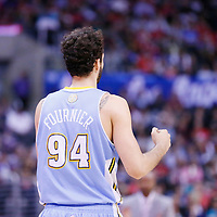15 April 2014: Denver Nuggets guard Evan Fournier (94) reacts during the Los Angeles Clippers 117-105 victory over the Denver Nuggets at the Staples Center, Los Angeles, California, USA.