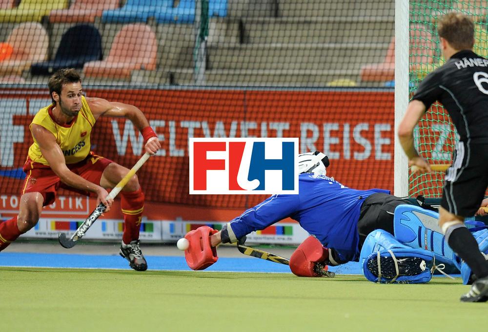Monchengladbach - Champions Trophy men<br /> Germany vs Spain <br /> foto: Max Weinhold stop a penaltycorner.<br /> FFU Press Agency  COPYRIGHT Frank Uijlenbroek