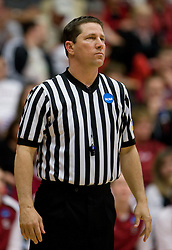 March 20, 2010; Stanford, CA, USA; NCAA referee Darren Krzesnik during the first half of the game between the Stanford Cardinal  and the UC Riverside Highlanders in the first round of the 2010 NCAA womens basketball tournament at Maples Pavilion. Stanford defeated UC Riverside 79-47.