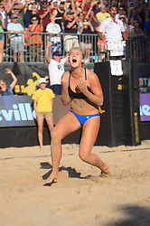 Oak Street Beach, Chicago, IL - September 3rd, 2017. Sarah Hughes celebrate winning her first AVP title with partner Kelly Claes, after beating Brooke Sweat and Summer Ross in 2 sets.   Photo by Wally Nell