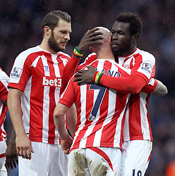 Stoke's Mame Biram Diouf and Stephen Ireland celebrate - Photo mandatory by-line: Robbie Stephenson/JMP - Mobile: 07966 386802 - 21/02/2015 - SPORT - Football - Birmingham - Villa Park - Aston Villa v Stoke City - Barclays Premier League