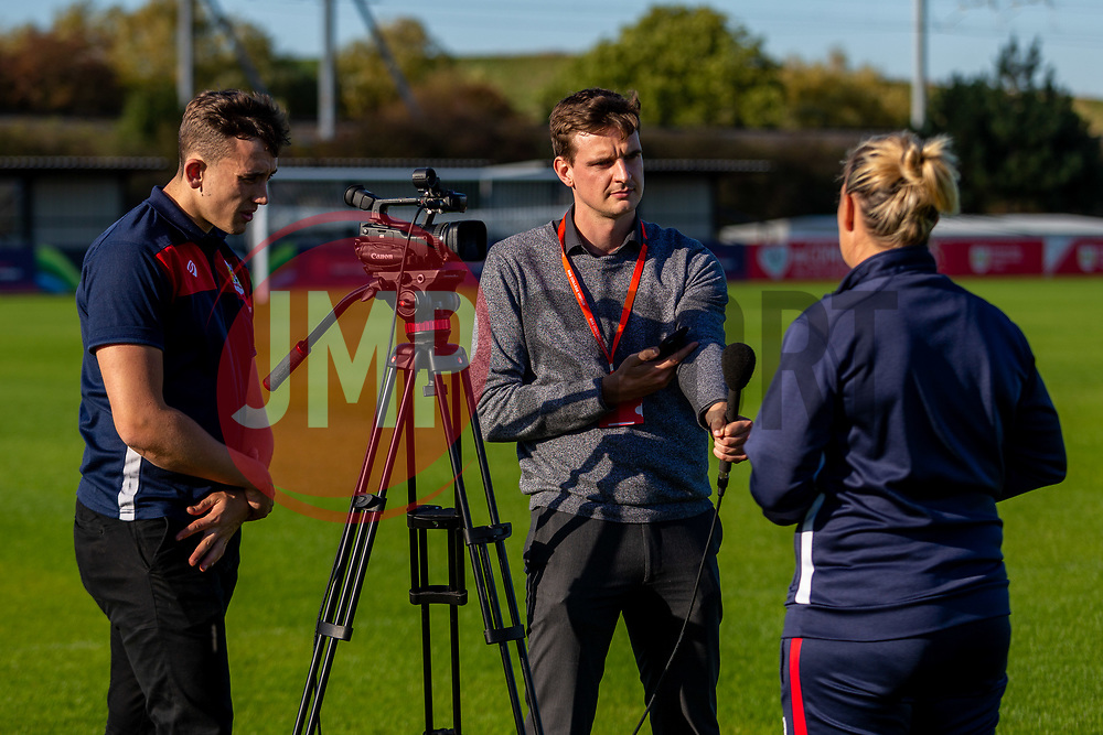 George West interviews Bristol City Women's Manager Tanya Oxtoby as she receives LMA Managers Manager of the Month for September 2018 - Ryan Hiscott/JMP - 04/10/2018 - FOOTBALL - Stoke Gifford Stadium - Bristol, England - Tanya Oxtoby receives Managers Manager of the Month for September 2018