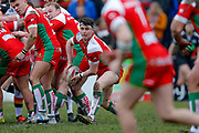 Keighley Cougars hooker Joe Lumb (14) passes from the base of the scrum during the Betfred League 1 match between Keighley Cougars and Bradford Bulls at Cougar Park, Keighley, United Kingdom on 11 March 2018. Picture by Simon Davies.