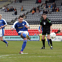 Partick Thistle v St Johnstone..16.04.05<br />Stephen Dobbie scores St Johnstone's second goal<br /><br />Picture by Graeme Hart.<br />Copyright Perthshire Picture Agency<br />Tel: 01738 623350  Mobile: 07990 594431