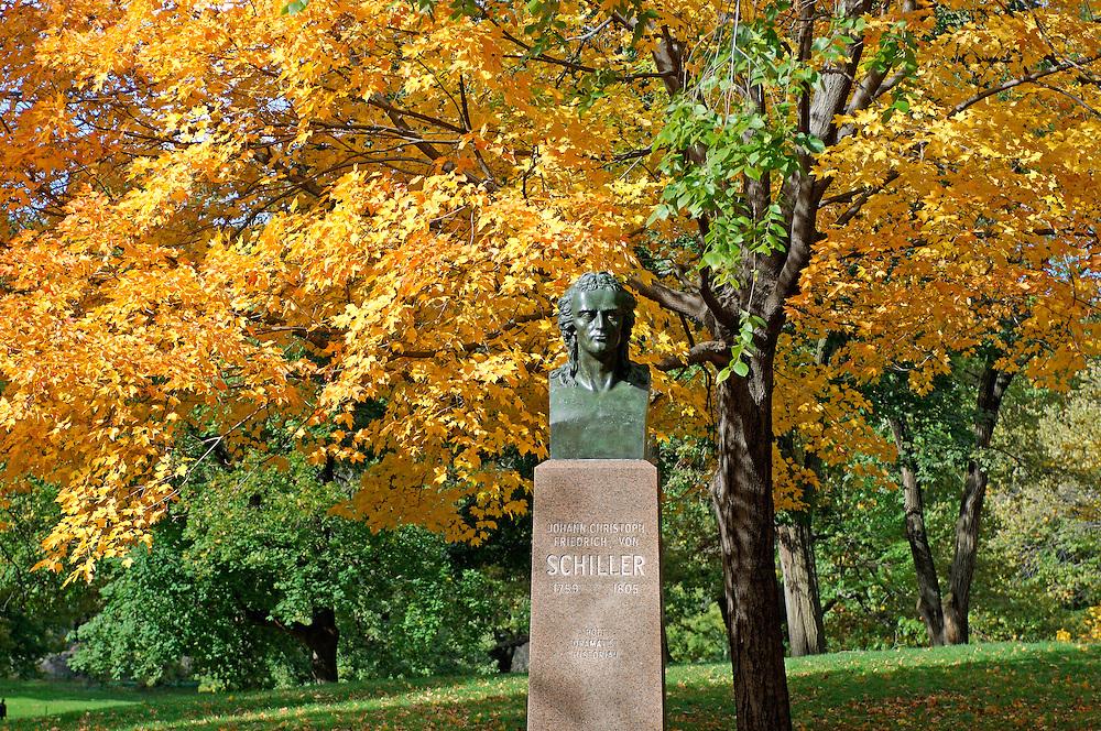 Friedrich von Schiller, Bust, Fall colors, Indian Summer, Central Park, Manhattan, New York, New York, United States of America