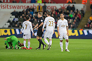 Kyle Naughton of Swansea (far right) reacts after being shown a red card during the Barclays Premier League match between Swansea City and Sunderland at the Liberty Stadium, Swansea, Wales on 13 January 2016. Photo by Mark Hawkins.