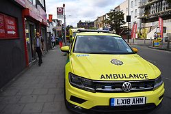 © Licensed to London News Pictures. 15/08/2019. London, UK. Clapham North Station, emergency services respond to an incident where a man reportedly took his life in front of his family, jumping onto the tracks as a train pulled into the platform. Attending HEMS Air Ambulance, fire crews and paramedics were unable to save the man. Photo credit: Guilhem Baker/LNP