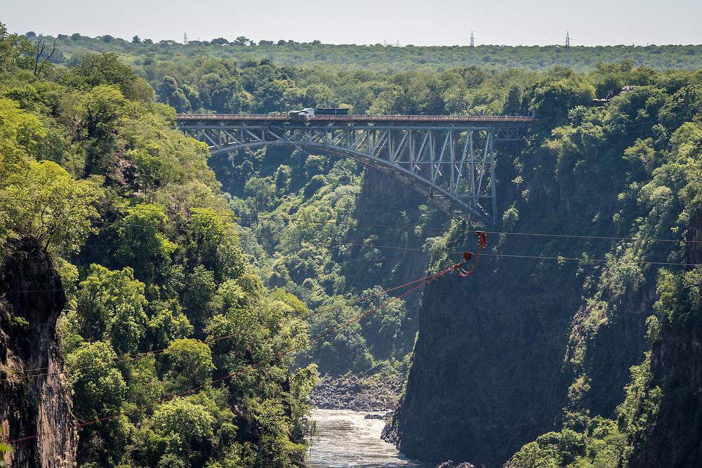 The Victoria Falls Bridge which crosses the Zambezi River and links Zimbabwe and Zambia. Hwange, Zimbabwe