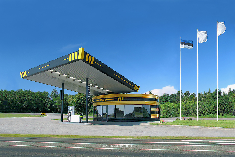 Roadside gas station with shop and petrol pumps in Estonia