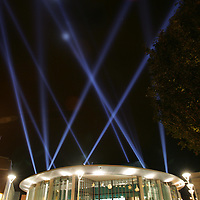 The sky above Perth is lit up as the Light Fantastic search light show at Perth Concert Hall designed by Simon Wilkinson brings the night sky to life to celebrate the launch of Perth Concert Hall. For one week only, people will be able to see the powerful beams of light sculpt the air above the city like a beacon visible from far and wide, piercing the sky, dancing away with the clouds and creating amazing forms and<br />shapes.  The new concert hall officially opens on Friday 16th September with a weekend music extravangaza with Belle & Seabstian topping the bill.<br />Picture by Graeme Hart.<br />Copyright Perthshire Picture Agency<br />Tel: 01738 623350  Mobile: 07990 594431