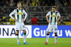 09.11.2014, Signal Iduna Park, Dortmund, GER, 1. FBL, Borussia Dortmund vs Borussia Moenchengladbach, 11. Runde, im Bild vl: Der Eigentor-Schuetze Christoph Kramer (Borussia Moenchengladbach #23) und Tony Jantschke (Borussia Moenchengladbach #24) // during the German Bundesliga 11th round match between Borussia Dortmund and Borussia Moenchengladbach at the Signal Iduna Park in Dortmund, Germany on 2014/11/09. EXPA Pictures &copy; 2014, PhotoCredit: EXPA/ Eibner-Pressefoto/ Schueler - Pressefoto<br /> <br /> *****ATTENTION - OUT of GER*****
