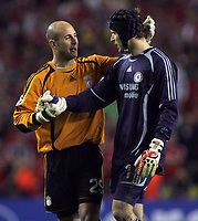 Photo: Paul Thomas.<br /> Liverpool v Chelsea. UEFA Champions League. Semi Final, 2nd Leg. 01/05/2007.<br /> <br /> Keepers Pepe Reina (L) of Liverpool and Petr Cech shake before battle.