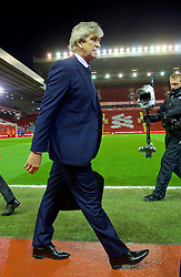 LIVERPOOL, ENGLAND - Wednesday, March 2, 2016: Manchester City's manager Manuel Pellegrini arrives before the Premier League match against Liverpool at Anfield. (Pic by David Rawcliffe/Propaganda)