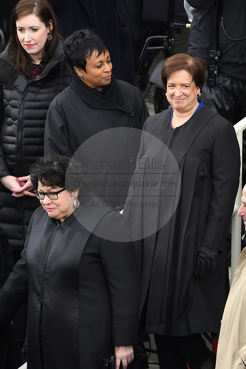 Supreme Court Justice Sonia Sotomayor, left, and Justice Elena Kagan arrive for the 68th President Inaugural Ceremony on Capitol Hill January 20, 2017 in Washington, DC.