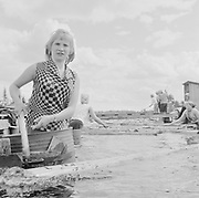 Women working separating logs in a river, Sotkamo, Kainuu, Finland 1959