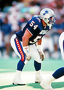 Detroit Lions linebacker Chris Spielman (54) gets set for the snap during the 1990 NFL Pro Bowl between the National Football Conference and the American Football Conference on Feb. 4, 1990 in Honolulu. The NFC won the game 27-21. (©Paul Anthony Spinelli)