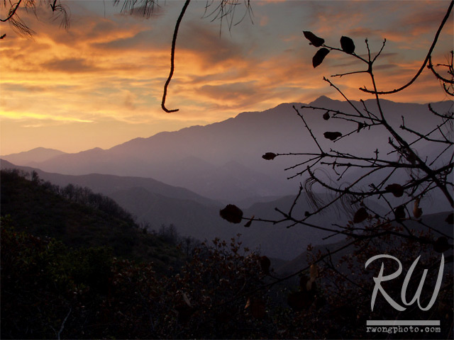 Sunset, San Gabriel Mountains, Angeles National Forest, Glendora, California