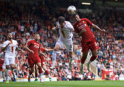 BRADFORD, ENGLAND - Saturday, July 13, 2019: Liverpool's Rhian Brewster challenges for a header with Bradford City's Jackson Longridge (L) during a pre-season friendly match between Bradford City AFC and Liverpool FC at Valley Parade. (Pic by David Rawcliffe/Propaganda)  BRADFORD, ENGLAND - Saturday, July 13, 2019: Liverpool's xxxx during a pre-season friendly match between Bradford City AFC and Liverpool FC at Valley Parade. (Pic by David Rawcliffe/Propaganda)