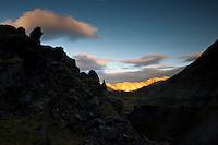 Grænagil canyon in Landmannalaugar. Evening glow on Norðurbarmur mountain in background. Grænagil í Landmannalaugum. Kvöldsól á Norðurbarmi.