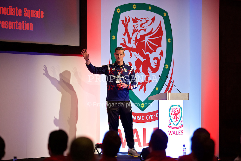 NEWPORT, WALES - Friday, May 20, 2016: Dave Hughes gives a presentation during the Football Association of Wales' National Coaches Conference 2016 at the Celtic Manor Resort. (Pic by David Rawcliffe/Propaganda)