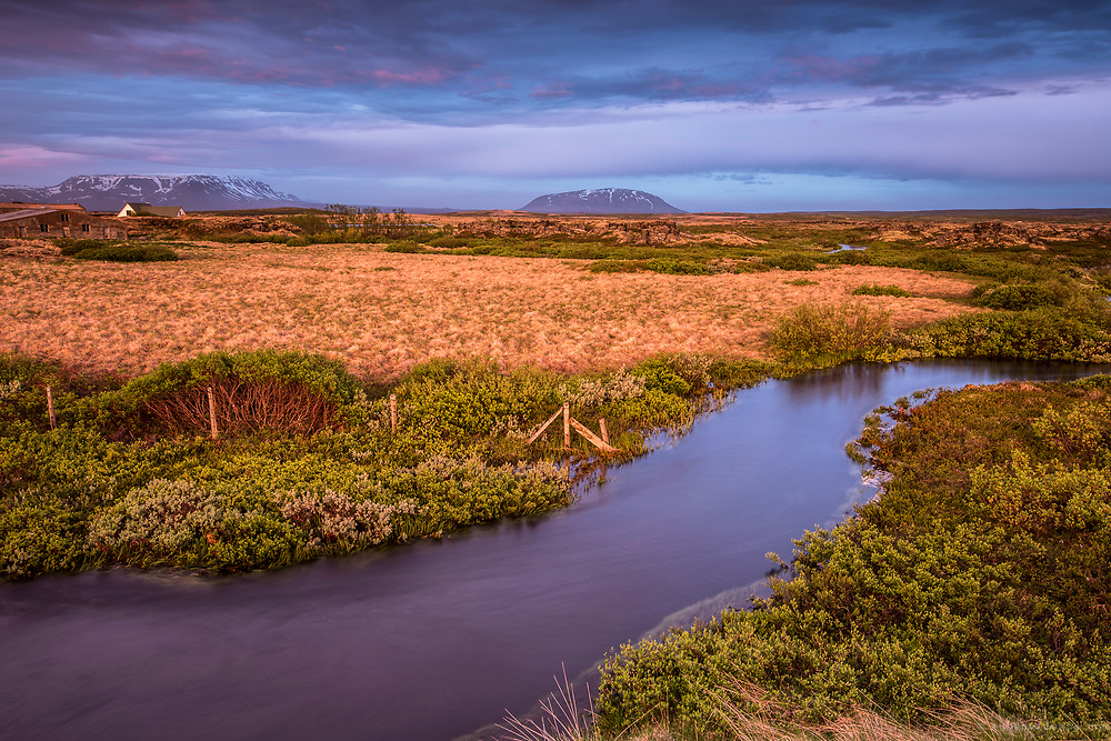 Stream in Myvatn at dusk. Myvatn, Iceland