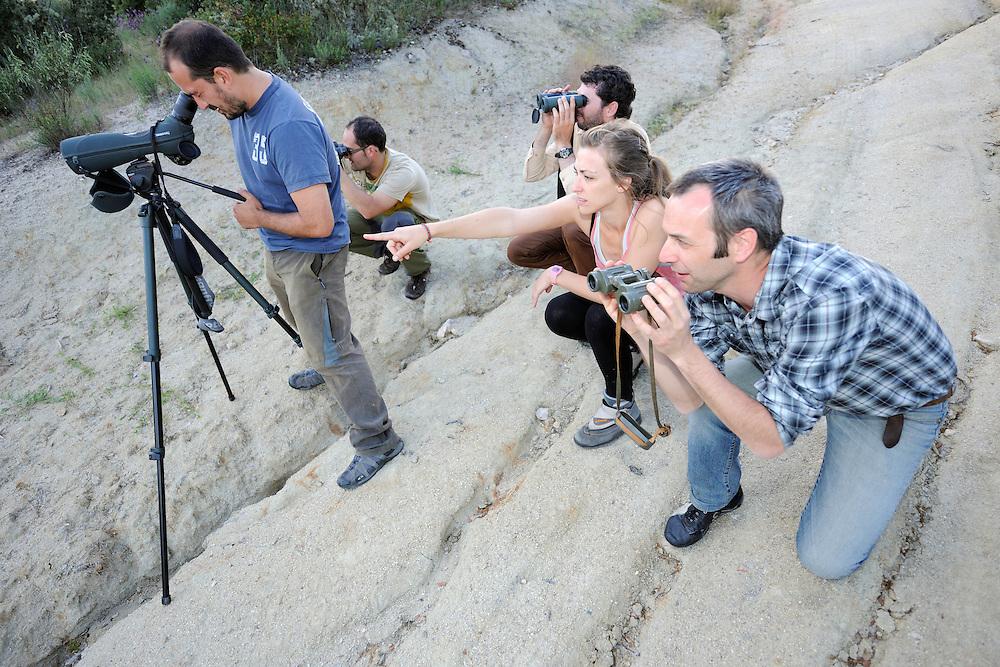 Bird watchers and rangers, Campanario de Az&aacute;ba, <br /> Salamanca region, Castilla y Le&oacute;n, Spain